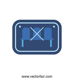 social distance of chairs in road sign flat style icon vector design