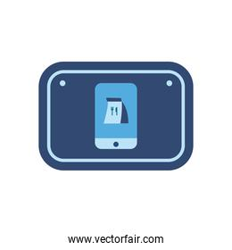 food delivery on smartphone in road sign flat style icon vector design