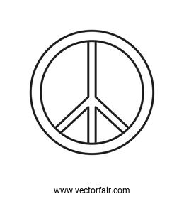 peace and love line style icon vector design
