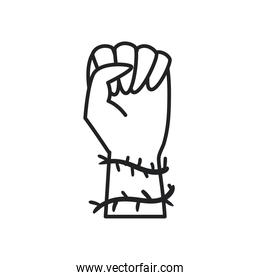 fist hand up with spines line style icon vector design