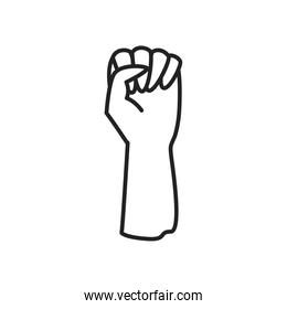 fist hand up line style icon vector design