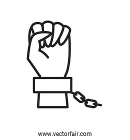fist hand up with chain line style icon vector design