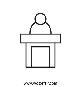 lawyer on podium line style icon vector design