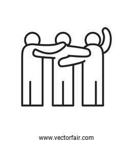 people hugging line style icon vector design