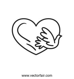 dove with heart line style icon vector design
