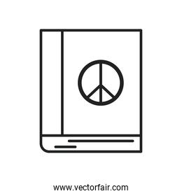 peace and love book line style icon vector design