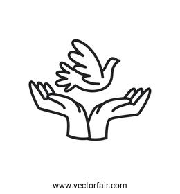 dove over hands line style icon vector design