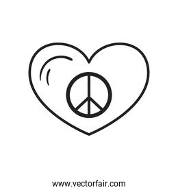 peace and love heart line style icon vector design