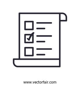 vote paper line style icon vector design