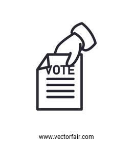 hand holding vote paper line style icon vector design