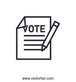 vote paper with pencil line style icon