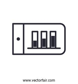 bars chart in smartphone line style icon vector design