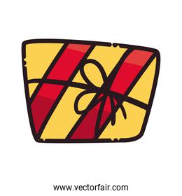 merry christmas gift with bowtie line and fill style icon vector design