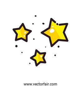 stars line and fill style icon vector design