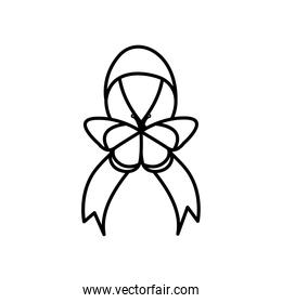 icon of ribbon with butterfly, line style