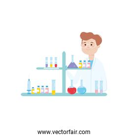 cartoon doctor man with chemical flasks and vaccine bottles, colorful design