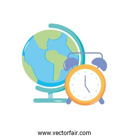 alarm clock and geography tool icon, flat style