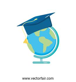 geography tool and graduation cap icon, flat style