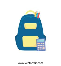 school backpack with color pencils and calculator, flat style