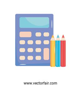 calculator device and colors pencils, flat style