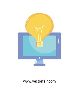 computer and bulb light icon, flat style