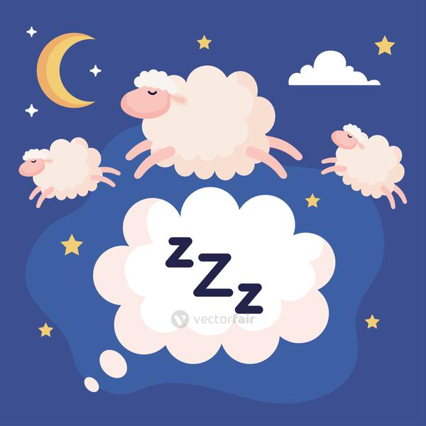 insomnia bubble with sheeps vector design