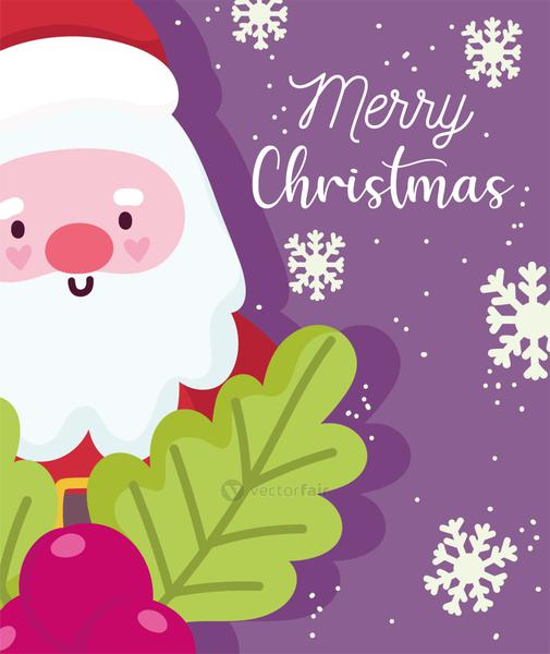 merry christmas, cute santa claus snowflakes and holly berry celebration card