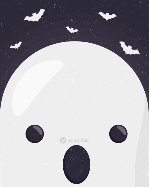 happy halloween cute ghost face character
