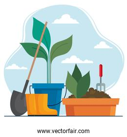 Gardening shovel boots and plants inside bucket and pot vector design