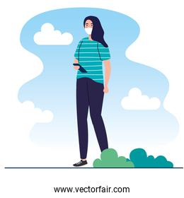 New normal of woman with mask and smartphone vector design