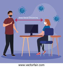 New normal of social distancing between man and woman with mask at desk vector design