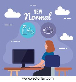 New normal of woman at desk vector design