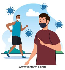 New normal of men with masks vector design
