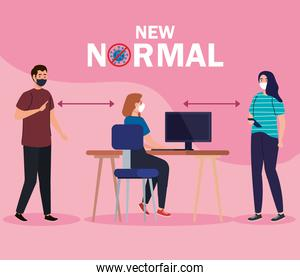 New normal of social distancing between man and women with mask at desk vector design