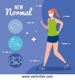 New normal of woman with mask running and icon set vector design