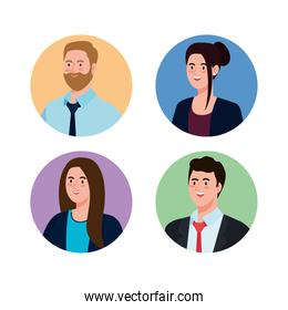 Businesspeople in circles vector design