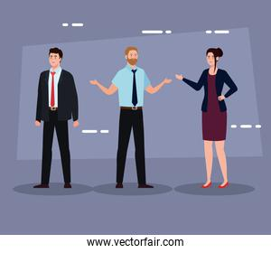 Businesspeople with suit on purple background vector design