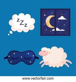 insomnia bubble window mask and sheep vector design
