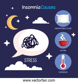 insomnia causes stress bubble and icon set vector design