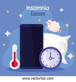insomnia causes smartphone thermometer and clock vector design