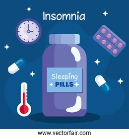 insomnia pills jar clock and thermometer vector design