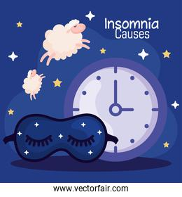 insomnia causes clock mask and sheeps vector design