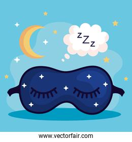 insomnia mask bubble and moon vector design