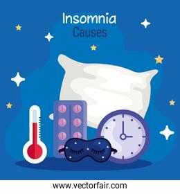 insomnia causes thermometer mask clock pills and pillow vector design