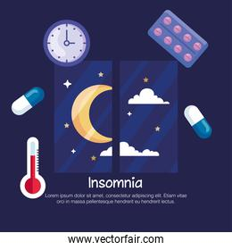 insomnia moon at window and icon set vector design