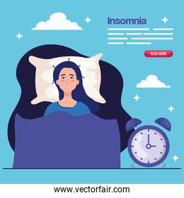insomnia woman on bed with clock vector design