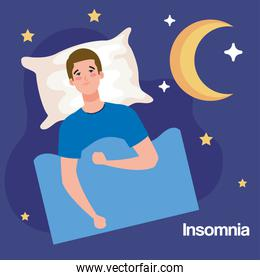 insomnia man on bed with pillow and moon vector design