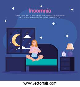 insomnia woman in bedroom with pillow and clock vector design