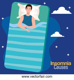 insomnia causes man on bed with pillow and clouds vector illustration