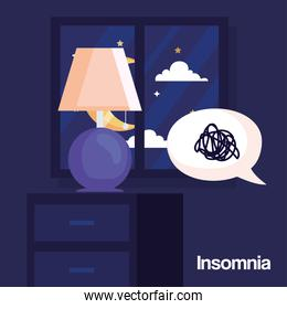 insomnia lamp on furniture and stress bubble vector design